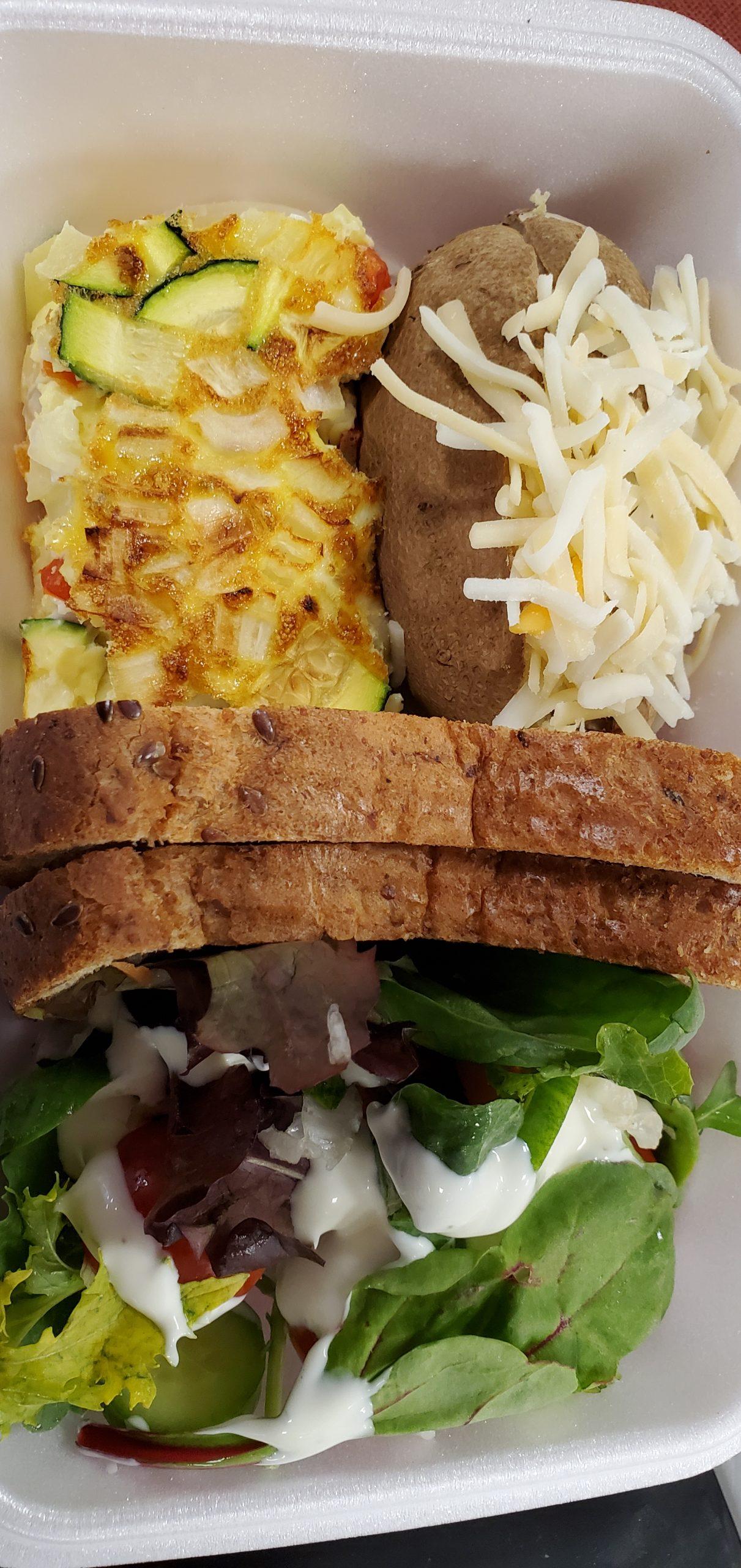Vegetable Fritta, Salad, and Stuffed Baked Potato